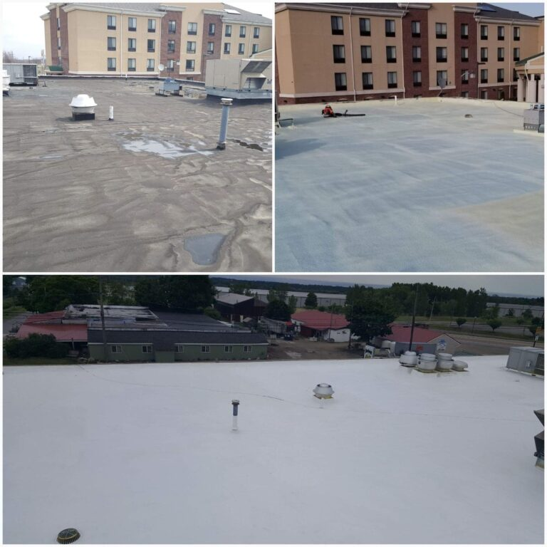 before, during, and after the commercial silicone roofing process